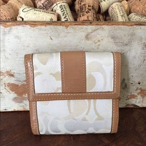 Coach Pale yellow and tan wallet